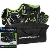 Winnwell NXT Youth Hockey Starter Kit - Re-Packaged Black/Green