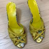 Gucci Shoes | Auth Gucci Yellow Floral Kitten Heel Mules 38 C | Color: Yellow | Size: 38eu