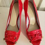Nine West Shoes   New Hot Red Heels With Peep Toe And The Dainty Bow   Color: Red   Size: 7