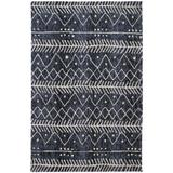 Oliena Modern Mid-century Tribal Rug, Denim Blue, 8ft x 10ft Area Rug - Weave & Wander 874R8318DNM000F00
