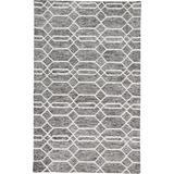 Natal Modern Minimalist Rug, Lattice, Charcoal/Ivory, 9ft x 12ft Area Rug - Weave & Wander 869R8777CHLIVYG00