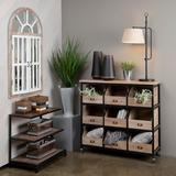 Industria Metal And Wood 9 Open Drawer Storage Chest Brown Wood - Crestview Collection CVFZR5054
