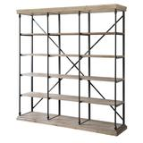 La Salle Metal and Brown Wood 3 Section Bookshelf - 4 Shelf & Etagere - Crestview Collection CVFZR4090