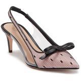 Valentino Garavani Pointed Toe Leather Slingback Pump - Black - RED Valentino Heels