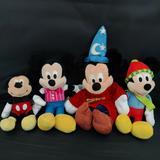 Disney Toys | Disney Mickey Mouse Plush Lot Of 4 Fantasia Winter | Color: Black/Red | Size: Osbb