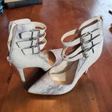 Jessica Simpson Shoes | Jessica Simpson Snake Print Ankle Buckle Heels 6 | Color: Cream/Gray | Size: 6