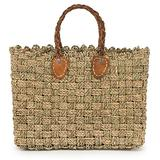 """Moroccan Straw Tote Bag w/Brown Leather Handles, 15.5""""Lx5""""Wx11.5""""H - Granada Sm"""