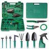 SSHAOSS Garden Tools Set, 11 Pieces Gardening Tools w/ Trowel Rake Weeder Pruner Shears Sprayer & Carrying Case, Green | Wayfair ZJWL05aa51f