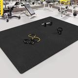 dingqitech Tiles Gym Flooring Gym Mats Exercise Mat For Floor Workout Mat Foam Floor Tiles For Home Gym Equipment Garage in Black, Size 0.4 H in