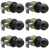 ABS Flat Round Privacy Doorknobs, Ball Indoor Keyless Doorknobs For Bedrooms & Bathrooms, Solid Stainless Steel Door Locks Set Of 6 in Black Wayfair