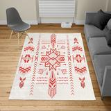 East Urban Home Ambesonne Geometric Turkish Area Rug Tribal Hand Drawn Vintage Aztec Background in Red/White, Size 90.0 H x 62.0 W x 0.39 D in