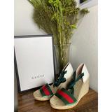 Gucci Shoes | Gucci Canvas Web Ankle Wrap Espadrille Sandals | Color: Pink | Size: Various