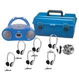 Hamilton Buhl 6 Person Listening Center w/ Bluetooth CD/Cassette/FM Boombox & On-Ear Headphones, Size 11.0 H x 19.0 W x 12.0 D in | Wayfair