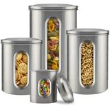 GuangMing Canister Sets For Kitchen Counter - Kitchen Decor Sets - Brushed Stainless Steel - Sugar Containers For Countertop - Flour Sugar Canister Set