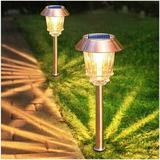kungreatbig Solar Garden Lights Outdoor Pathway Lights Glass Stainless Steel Waterproof Solar Powered Landscape Lights For Yard Patio Lawn Path Walkway