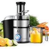 """MOOKA KOIOS Centrifugal Juicer Machines, Juice Extractor w/ Big Mouth 3"""" Feed Chute, 304 Stainless-Steel Fliter, Best Seller Juicer 2021 in Gray"""