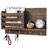 qing Key Holder Mail Organizer Wall Mount w/ 4 Double Key Hooks Floating Shelf Rustic Wood Decorative Hanger For Entryway, Storage, Living Room