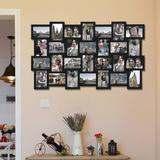 """SWU Wood Wall Hanging Picture Photo Frame Collage 4X6, Basket-Weave Design, 28 Openings, 4 By 6"""" in Black, Size 39.1 H x 23.0 W x 0.5 D in   Wayfair"""
