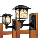 LAKEKYD Solar Wall Lanterns Outdoor Waterproof LED Solar Deck Fence Lights Wall Sconce Warm White Landscape Lighting For Garden Yard (2 Pack)