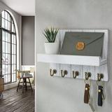 qing Key Hanger For Wall w/ Shelf Wood Wall Shelf w/ Hooks - 5 Hooks For Wall Decorative Retro Hanging Organizer Rustic Farmhouse Decor For Entryway