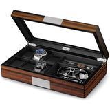 Red Barrel Studio® Watch Jewelry Box For Men 6 Slot Watch Box,6 Watch Case 8 Pair Cufflinks & Sunglasses Display Box in Brown   Wayfair