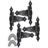 mskey 6 Inch Strap Hinges Shed Door Hinges Heavy Duty Decorative T Strap Hinge Shed Storage Gate Barns Tee Hinges w/ Screws(, 4 Pack) in Black
