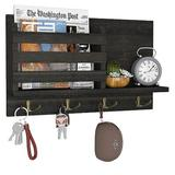 qing Amada Key Holder For Wall Mail Organizer w/ 4 Double Key Hooks Floating Shelf Rustic Wood Decorative Hanger For Entryway, Storage, Living Room
