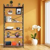 17 Stories Bookshelf Storage Shelves Heavy Duty, Industrial Shelf Storage, Wood & Metal Large Bookshelves in Brown, Size 70.9 H x 31.5 W x 11.8 D in