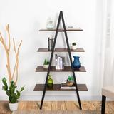 17 Stories 4 Tier Industrial Ladder Bookshelf Wood Metal Bookcase Modern Standing Book Shelves w/ Rustic Finish Vintage Open Shelf Display Rack Storage Organiz