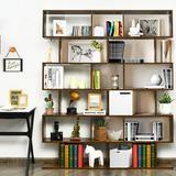 Loon Peak® 2 Pcs 6 Tier S-shaped Bookshelf Storage Display Bookcase Z-shelf Coffee Wood in Brown, Size 75.0 H x 31.5 W x 9.0 D in   Wayfair