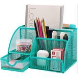 Inbox Zero Desk Organizer Desk Accessories Multi-Functional Mesh Desk Organizers Metal in Green, Size 5.02 H x 8.66 W x 5.52 D in   Wayfair