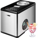 vivohome 110V Electric 1.6 Quart Capacity Stainless Steel Automatic Ice Cream Maker Machine Coutertop w/ Compressor & LCD Display in Gray | Wayfair