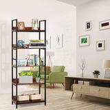 17 Stories 5 Storeys Shelf Shelves Wood & Metal Bookcases Industrial Shelves, Storage Racks Craft Storage Bedroom, Living Room & Office in Brown