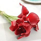 Primrue Artificial Calla Lily Flowers Wedding Bouquet For Home Party Decor Kitchen & Wedding Decorations in Red, Size 13.6 H x 2.2 W x 2.2 D in