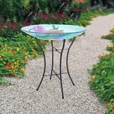 Bay Isle Home™ Outdoor Hand-Painted Hummingbird Fusion Glass Solar Birdbath Bowl Feeder w/ LED Light & Metal Legs For Patio Garden Backyard, 18-Inch