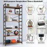 17 Stories Bookshelf Storage Shelves Heavy Duty, Industrial Shelf Storage, Wood & Metal Large Bookshelves, Size 70.9 H x 31.5 W x 11.8 D in | Wayfair