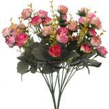 Primrue Artificial Flowers Bouquet Mini Rose Wedding Home Office Decor in Red, Size 12.99 H x 12.99 W x 1.18 D in | Wayfair