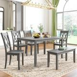 Rosalind Wheeler 6-Piece Wooden Dining Table Sets w/ Bench & 4 Cross Back Chairswash in Gray, Size 30.0 H x 36.0 W x 54.0 D in   Wayfair