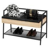 17 Stories Shoe Storage Bench, Industrial Hidden Shoe Rack Bench Organizer w/ Storage Chest, Mesh Shelf For Entryway, Mushroom in Black/Brown