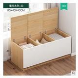 Ebern Designs Folding Wood Storage Bench/Storage Cabinet/Shoe Rest/3-Cube Organizer in White, Size 15.7 H x 15.7 W x 35.4 D in | Wayfair