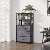 17 Stories Industrial Style 4 Dresser Unit w/ 2 Layer Shelves, Storage Dresser Tower w/ 4 Fabric Drawers For Living Room, Hallway, Nursery Wood