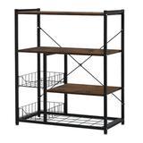17 Stories Kitchen Baker'S Rack Microwave Oven Stand Industrial Kitchen Shelf w/ 2Baskets in Brown, Size 13.8 H x 37.4 W x 31.5 D in | Wayfair