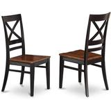 Longshore Tides East West Furniture QUC BLK W Quincy Kitchen Dining Chairs Wooden Seat & Black Hardwood Structure Dining Room Chair Set Of 2 Wayfair