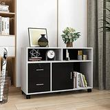 Inbox Zero Wood File Cabinet, 2 Drawer Mobile Lateral Filing Cabinet, Storage Cabinet Printer Stand w/ Lock & Open Storage Shelves For Home Office