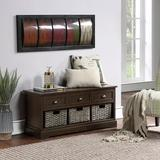 Red Barrel Studio® Homes Collection Wood Storage Bench w/ 3 Drawers & 3 Woven Baskets in Brown, Size 19.5 H x 41.9 W x 15.2 D in | Wayfair