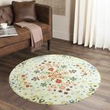 Red Barrel Studio® Floral Round Area Rug Ultra Soft Faux Wool Throw Rugs Modern Colorful Collection Accent Rug Machine Washable Non-Slip For Modern Farmhouse Bedroom Liv