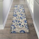 Red Barrel Studio® Lendin Floral Blue/Beige Area Rug Polypropylene in Blue/White, Size 27.0 W x 1.0 D in   Wayfair BA401E670BFD41F380008D3FEB394956