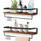 17 Stories Floating Shelves For Wall Set Of 2, Rustic Wood Wall Mounted Storage Shelves For Bathroom, Kitchen, Bedroom in Brown   Wayfair