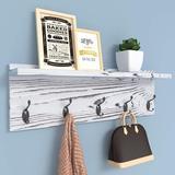 Gracie Oaks Wall Hooks w/ Shelf 28.9 Inch Length Entryway Wall Hanging Shelf Wood Coat Hooks For Wall w/ Shelf Wall-Mounted Coat Hook Rack w/ 5 Dual Hooks F