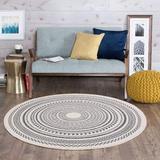 Dakota Fields Cotton Round Woven Rug w/ Tassels Handmade Washable Throw Print Cotton Area Rug For Living Room Bathroom Bedroom   Wayfair